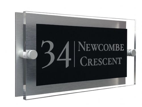 Rectangle Shape - Clear Acrylic House Sign - Black Colour with Silver text in Font  2
